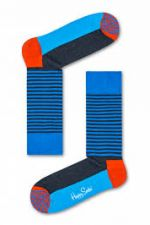 Happy Socks Half Stripe Sock in kleur petrol blauw